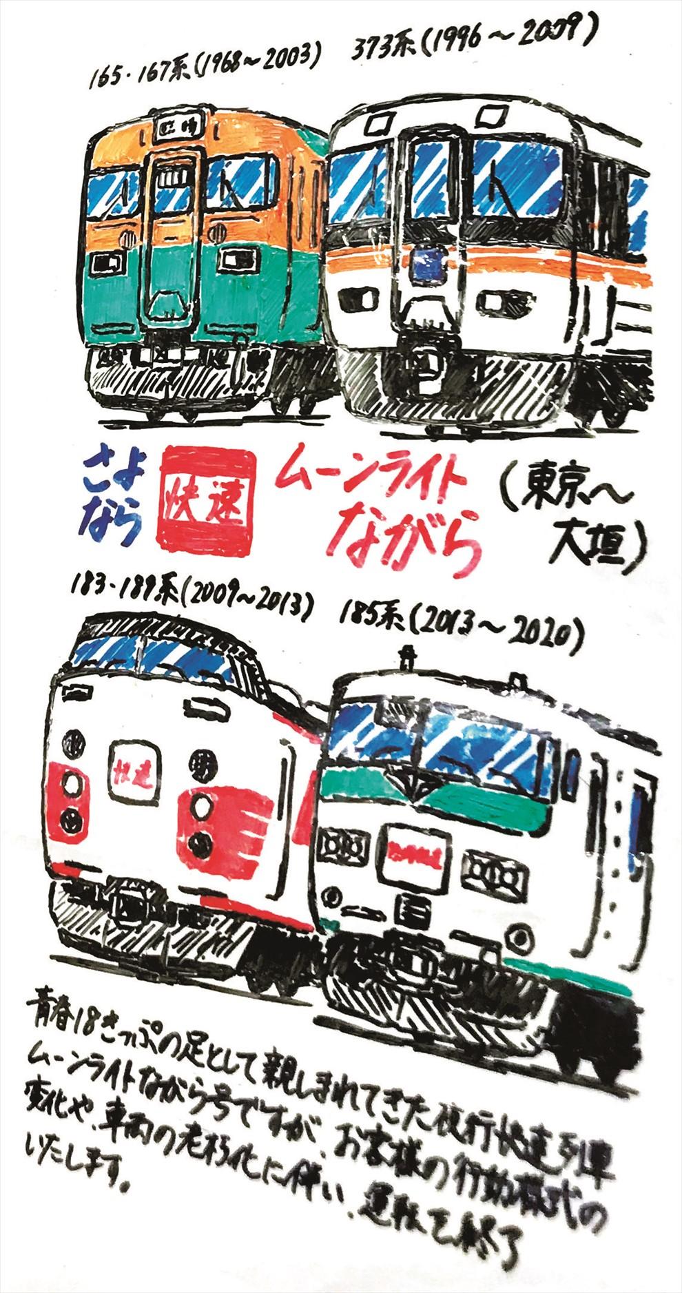 東京~大垣を結んだ快速「ムーンライトながら」が引退したときのもの。車両の変遷を描いた。