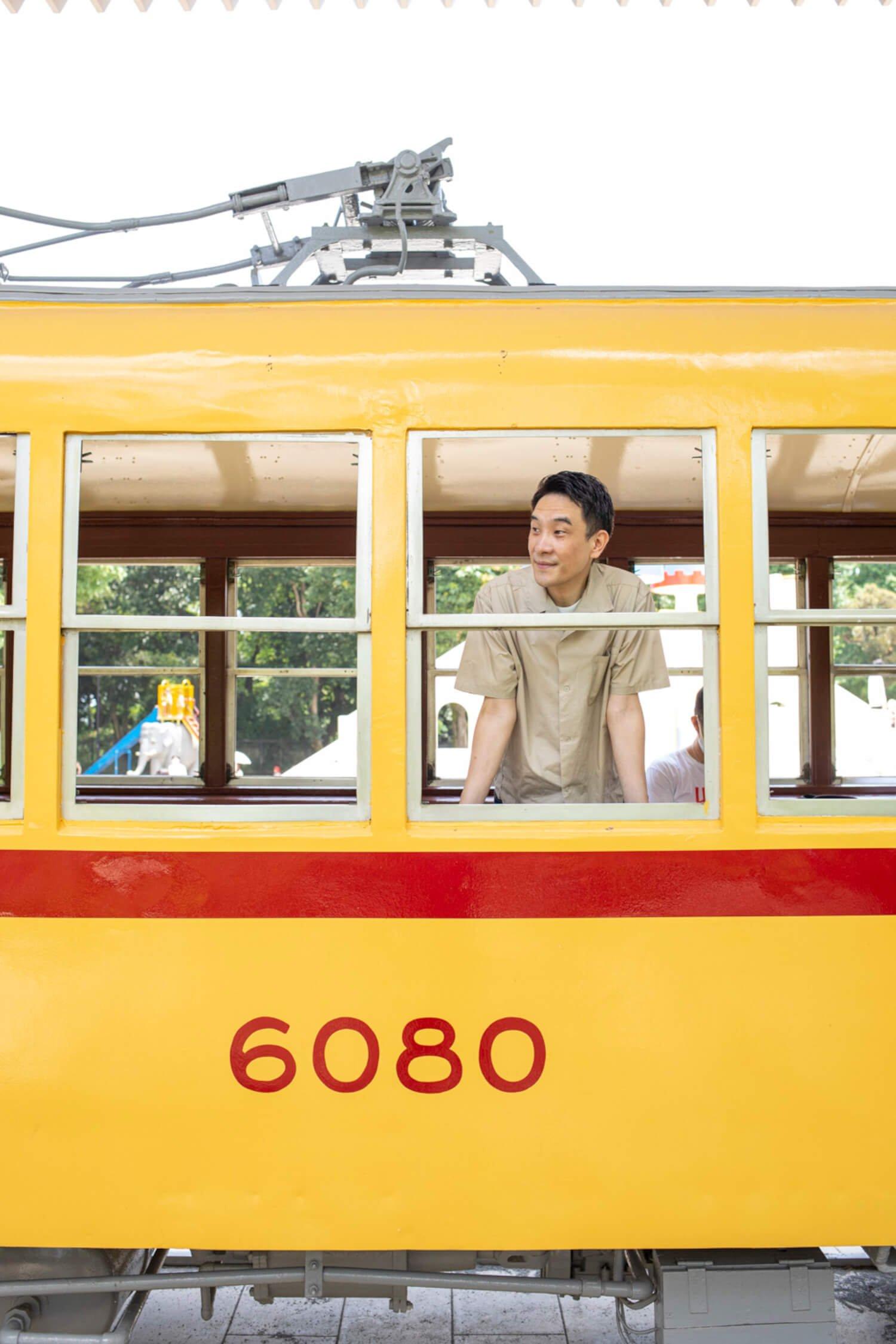 飛鳥山公園にて。『都電物語』に登場したに違いない6000系の車窓から、昭和の日本橋が見える?