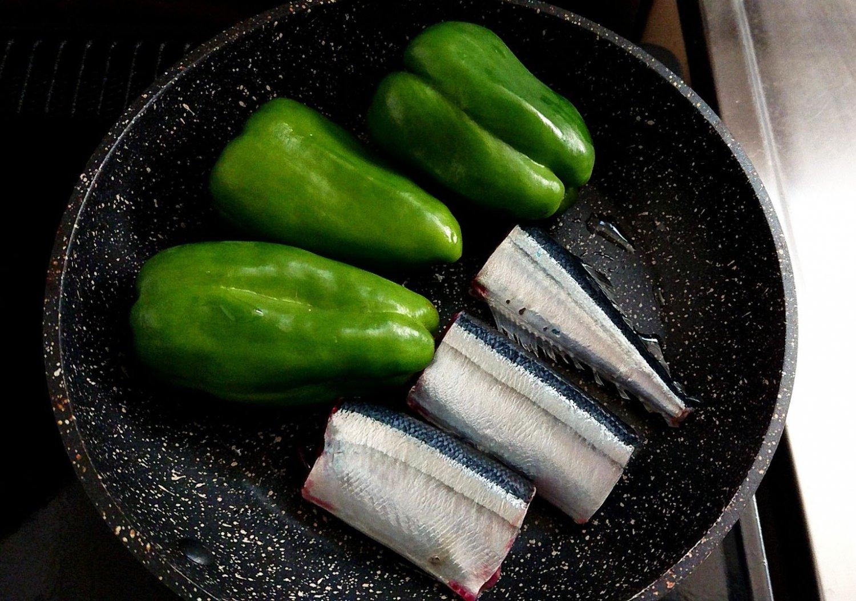 秋刀魚とピーマン