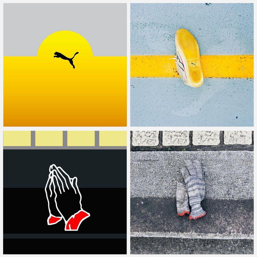 道路のライン上にいるプーマのロゴや、拍手しているような手袋。ビジュアル的に惹かれた要素を抽出したイラスト。