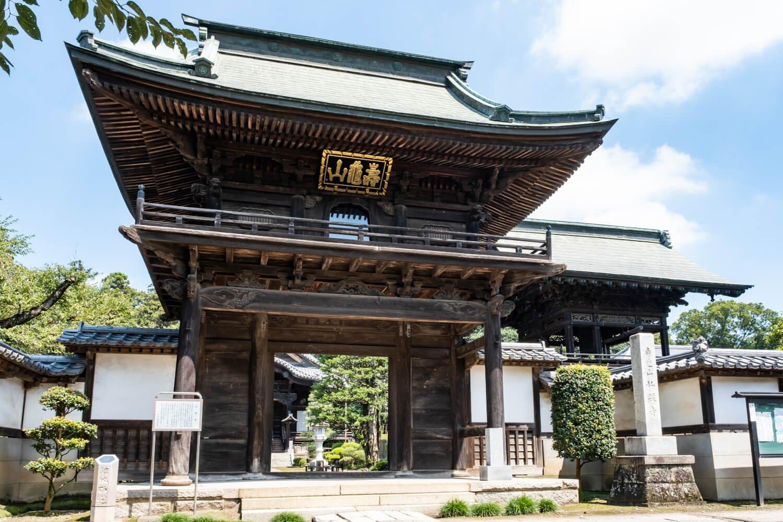 結城家18代の秀康が建立したと伝わる弘経寺(ぐぎょうじ)。